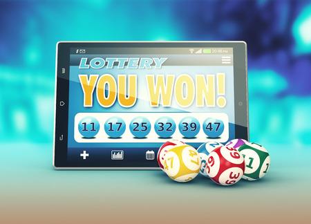 tablet pc met een loterij app in een winnende situatie en een aantal loterijballen (3d render) Stockfoto