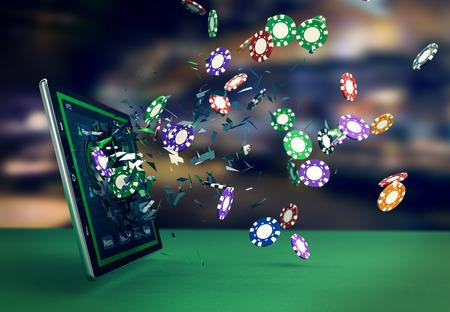 Tablet PC con un poker app e chip di mazza che esce dalla rottura del vetro, il concetto di gioco online (rendering 3d)