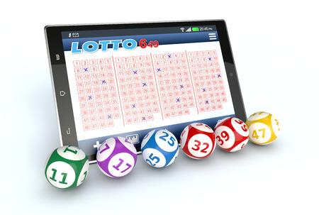 tablet pc met een loterij app en een aantal loterij ballen, een witte achtergrond (3d render)
