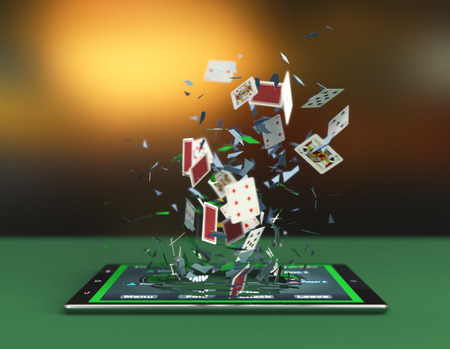 tablet pc with a poker app and poker cards coming out by breaking the glass, concept of online gaming (3d render) Archivio Fotografico