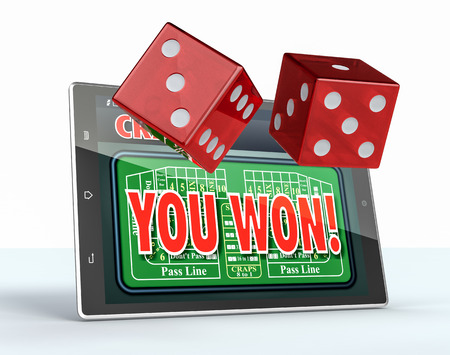 craps: tablet pc with a craps app in a winning situation and a couple of dice, white background (3d render) Stock Photo