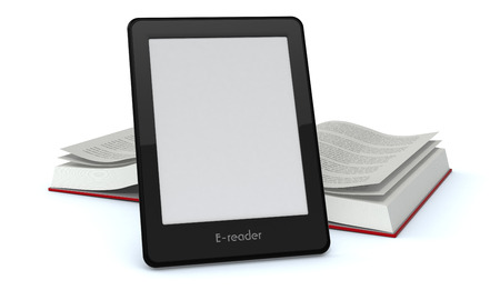 reader: ebook reader with blank screen and an open book on background (3d render) Stock Photo