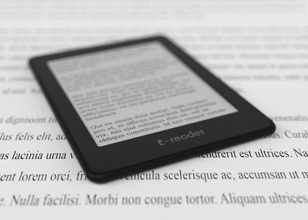 ereader: closeup view of an ebook reader, text is the Lorem Ipsum (3d render)
