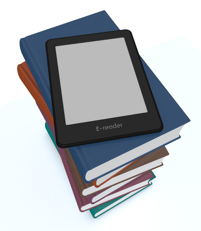 e book reader: ebook reader on top of a stack of books, white background (3d render) Stock Photo