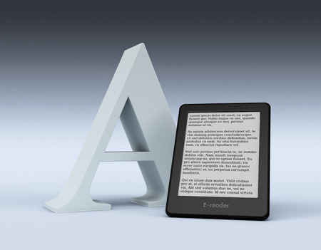 ereader: ebook reader with a big letter A, text is the Lorem Ipsum (3d render) Stock Photo