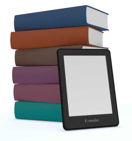 e book reader: ebook reader with a stack of books, white background (3d render)