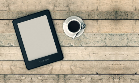ereader: top view of an ebook reader with a cup of coffee, wooden background (3d render)