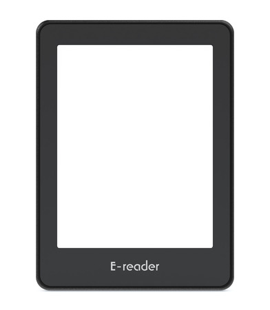ereader: front view of an ebook reader with blank screen, white background (3d render)