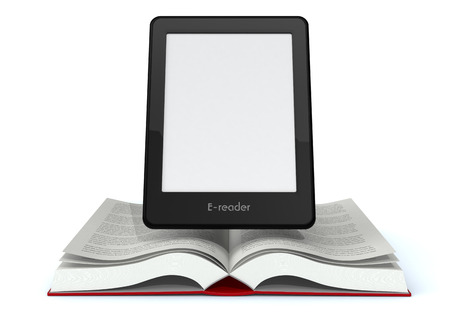 ereader: open book with an ebook reader with blank screen (3d render)