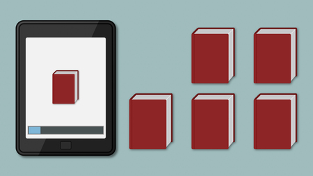 ereader: ebook reader with some red books, on of them is stored in the device memory
