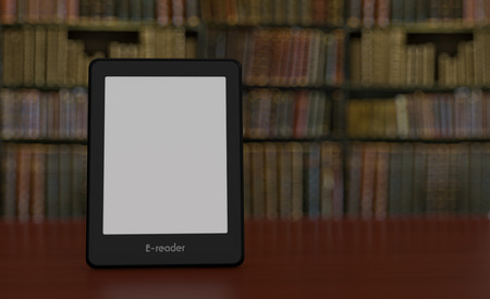 reader: ebook reader with a bookshelf on background (3d render) Stock Photo