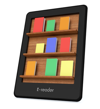 ereader: ebook reader with a book shelf on the screen and some colorful books (3d render) Stock Photo