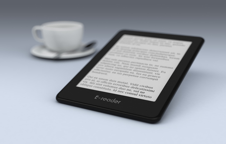 reader: ebook reader with a cup of coffee on background, text is the Lorem Ipsum (3d render)