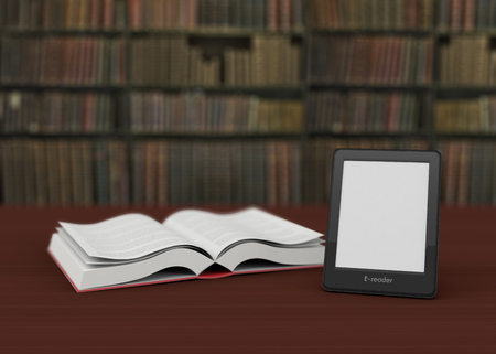 reader: ebook reader and an open book with a bookshelf on background (3d render)