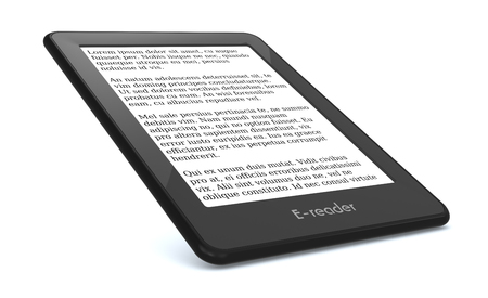 reader: ebook reader on white background, the text on the screen is the Lorem Ipsum (3d render) Stock Photo