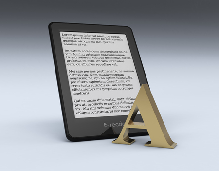 e book device: ebook reader with a golden letter A, text is the Lorem Ipsum (3d render)