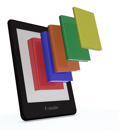 ereader: ebook reader with colorful books coming out from the screen (3d render)