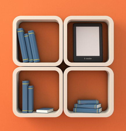 ebook reader: modern bookshelf with some books and an ebook reader (3d render)