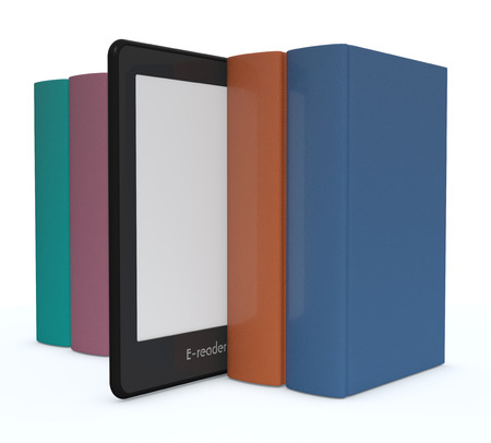electronic tablet: row of books with an ebook reader, white background (3d render) Stock Photo