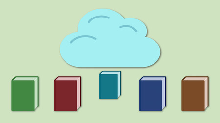 e book device: some colorful books with a cloud, concept of cloud computing and online storage
