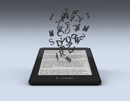 ebook reader with letters coming out from the screen, text is the Lorem Ipsum (3d render) Stock Photo