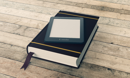 reader: ebook reader with a book on wooden background (3d render)