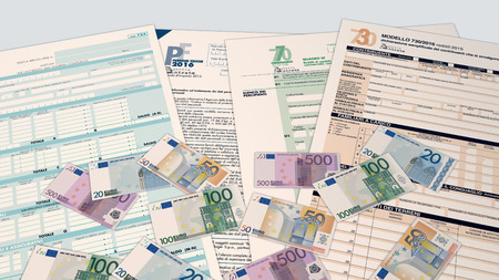 bureaucracy: top view of forms for italian taxes and some euro banknotes (3d render)