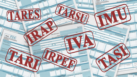 bureaucracy: close up view of F24 form for italian taxes,the words: imu, irap, irpef, iva, tares, tari, tarsu, tasi(3d render)