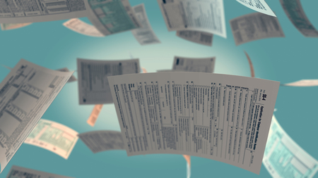 tax forms: several Usa tax forms flying (3d render) Stock Photo