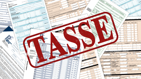 foreground: close up view of forms for italian taxes and the word tasse printed on foreground (3d render)