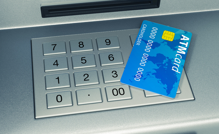 automatic transaction machine: closeup view of an atm keyboard with a card  (3d render)