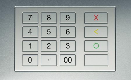 automatic transaction machine: vista de cerca de un teclado atm (3d)