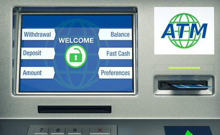 automatic transaction machine: vista frontal de un cajero autom�tico, el fondo blanco (3d)