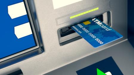 automatic transaction machine: vista de cerca de un cajero automático con una tarjeta en la ranura (3d) Foto de archivo