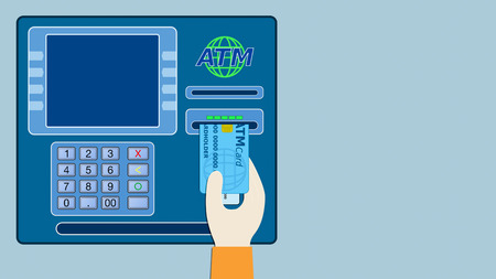 technology transaction: front view of an atm panel with a a hand that inserts the card on the slot, empty space on the screen and at right