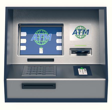 vooraanzicht van een pinautomaat, een witte achtergrond (3d render)