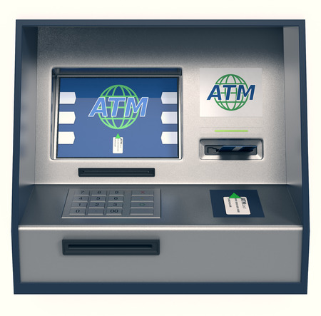 atm: front view of an atm, white background (3d render) Stock Photo