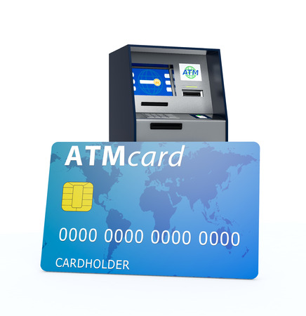 automatic transaction machine: one atm with a big credit card, white background (3d render)