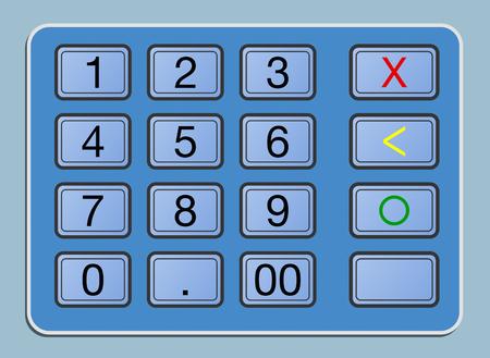 automatic transaction machine: closeup view of an atm keyboard, illustration Foto de archivo