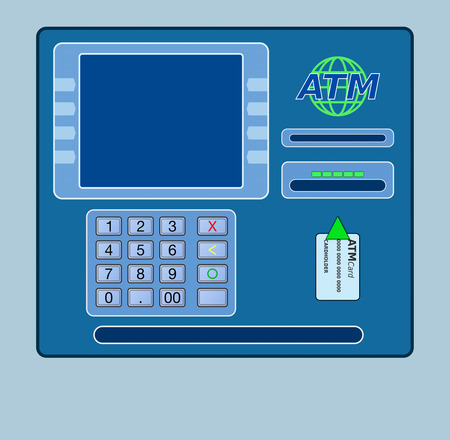automatic transaction machine: front view of an atm panel, empty space on the screen