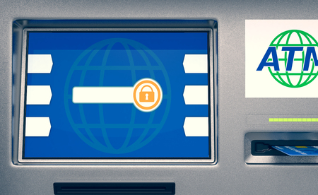 automatic transaction machine: front view of an atm, white background (3d render) Foto de archivo