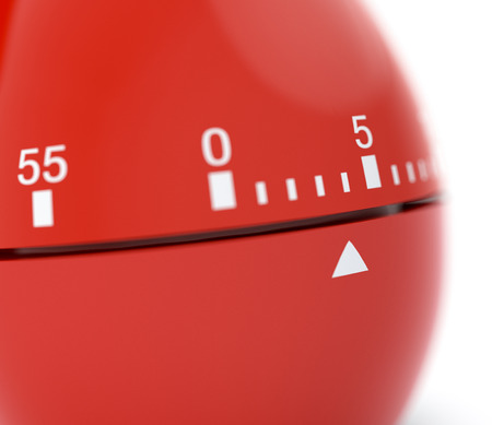 timescale: closeup view of a egg-timer, white background, concept of deadline (3d render) Stock Photo
