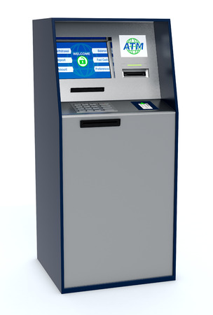 automatic transaction machine: one atm cabinet on white background (3d render)