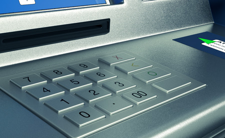 automatic transaction machine: closeup view of an atm keyboard  (3d render)