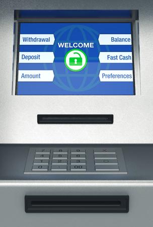 automatic transaction machine: vista frontal de un cajero automático, el fondo blanco (3d)