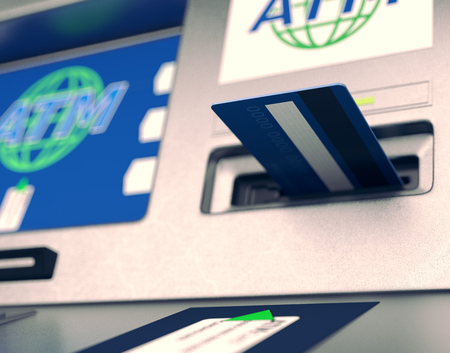automatic transaction machine: closeup view of an atm with a card on the slot  (3d render) Foto de archivo