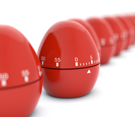 timescale: closeup view of a row of eggs-timer with the focus on one of them, white background, concept of deadline (3d render)