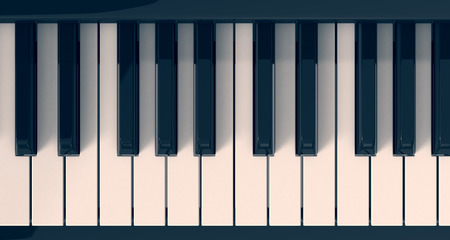 classic classical: top view of a piano keyboard (3d render)