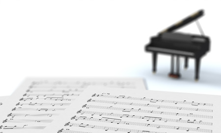 musical score: sheets music with a small piano, white background (3d render)