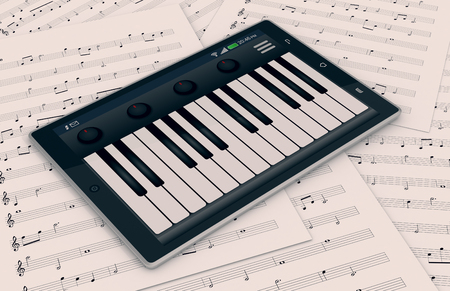 piano closeup: closeup view of a tablet pc with a piano app, and some sheets music on background, concept of music and technology (3d render) Stock Photo
